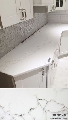 Our non-porous quartz line is resistant to scratches, heat, stains and water. This makes it perfect for any countertop. Seen here is 'Statuario' quartz which has a natural white marble look with sable-colored veining.