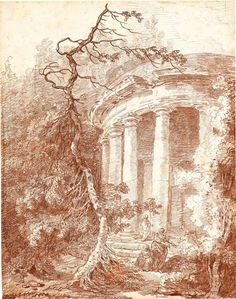 Hubert Robert (1733–1808), An Ancient Circular Temple in a Wooded Landscape, c. 1770, chalk. Private collection, U. K.