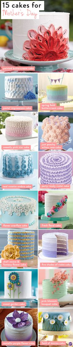 Want to make something sweet for mom this Mother's Day? Here are 15 cake projects that you can make with love for mom. Bonus: many of these cake designs work for birthdays, bridal or baby showers or o (Cake Decorating Ideas) Pretty Cakes, Cute Cakes, Beautiful Cakes, Amazing Cakes, Cake Decorating Techniques, Cake Decorating Tips, Cookie Decorating, Cake Icing, Eat Cake