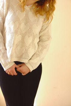 Vintage White Knit Sweater. Open Knit. Breezy Boxy fit . hearts. 1980's. size medium - large. by blissjoybull