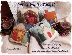 Mini Winter Village Wool Applique Bowl Fillers or Sachets Wool Applique Patterns, Felt Applique, Felted Wool Crafts, Felt Crafts, Felt Christmas Ornaments, Christmas Bowl, Cowboy Christmas, Country Christmas, Christmas Christmas