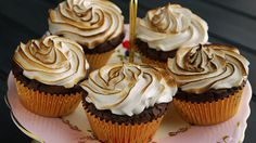 Brownie Cupcakes with Cappuccino Meringue on MyRecipeMagic.com