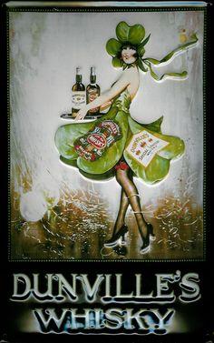 Dunvilles Whiskey Home Bar Vintage Metal Pub Sign