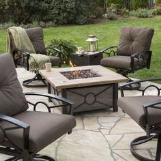 Giantex Fire Pit Table Aluminum Frame Outdoor Propane Gas Https - Outdoor gas fire pit table and chairs