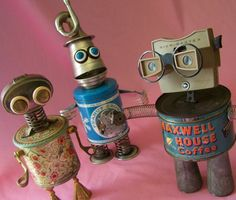 robots made out of junk- the background colour especially makes these robots seem friendly but the use of found objects imply they are not high-tech or overpowering- i imagine they would be submissive to a human master/creator