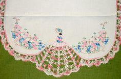 Vintage Linens - Three Piece Dresser Set with Gorgeous Crochet Work in Pink and White