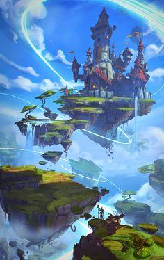 Project Spark artwork named 2014 winner - fantasy - Game Art Fantasy Kunst, Fantasy City, Fantasy Castle, Fantasy Places, Fantasy Island, Fantasy Art Landscapes, Fantasy Landscape, Landscape Art, Landscape Concept