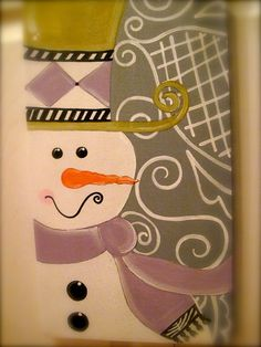 Fancy Snowman Winter Christmas Canvas Sign by dreamcustomartwork, $30.00