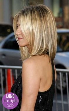 Jennifer Anniston's amazing long bob - polished and straight. #hairstyles #bobhaircut