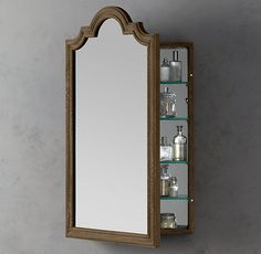 This is a pretty medicine cabinet. I want a nice framed one like this with extra storage inside. Also, I don't have to lean is as far to see things up close on my face. Also...it's like hanging wall art that's functional in the bathroom. Win. Win. Win. :)