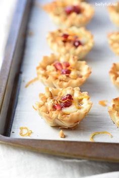 Small fillo shells are filled with jam, brie cheese, walnuts, and pomegranate seeds, making these Brie and Jam Fillo Bites an easy and beautiful holiday party appetizer! Best Appetizer Recipes, Best Appetizers, Holiday Party Appetizers, Pomegranate Seeds, Clean Eating Snacks, Brie, Finger Foods, Food Print, Favorite Recipes