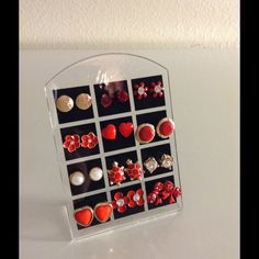 Bundle 12 studs earrings red turtle bow Pearl gems Bundle set of 12 pairs New with Tags Boutique Quality stud earrings on display stand. All items are lead & nickel free & hypo-allergenic. You will receive all the earrings shown and display stand. NOT sold individually! Earrings Cannot be traded/swapped for other colors/styles from other sets in my closet. No trades or holds! Price is FIRM! These earrings sets are the only sets that include the display! Do not inquire about the displays from…