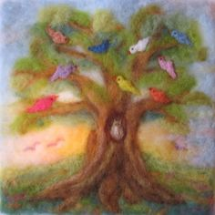 Tree of birds - beautiful wool felt art