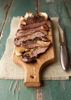 Roasted Flank Steak with Mushrooms and Thyme
