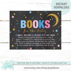 Stars Books For The Baby, Baby Shower Insert Card Pink, Blue and Gold Glitter on a Black Chalkboard Background by Joytations on Etsy. For details visit: https://www.etsy.com/listing/496468668