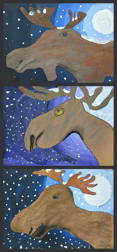 3rd/4th/5th: Moonlit Moose. tints/shades. winter. animals