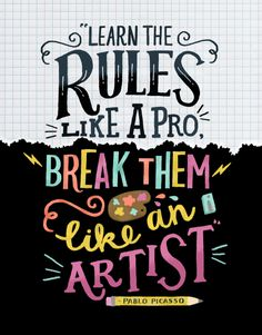 quote by Pablo Picasso; lettered by Steph Baxter for MollieMakes magazine.