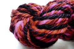 HOT Chunkee Munkee Handspun Yarn by YarnFiberWyrkz on Etsy (Craft Supplies & Tools, Fiber & Textile Art Supplies, Yarn & Roving, Yarn, chunky, super bulky, art yarn, pink, red, black, bright, fat, handspun, hand dyed, 3 ply, thick, yarn and fiber wyrkz)