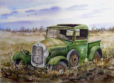 Old 29 Art Print by Sam Sidders. All prints are professionally printed, packaged, and shipped within 3 - 4 business days. Choose from multiple sizes and hundreds of frame and mat options. Car Painting, Painting & Drawing, Arte Country, Truck Art, Car Drawings, Automotive Art, Old Barns, Art Cars, Painting Inspiration