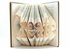 本のページを折って文字を描いたアート - GIGAZINE