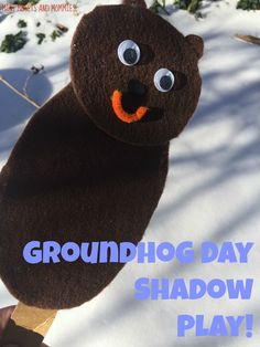 Groundhog Day shadow puppets! Kids art activity and pretend play!