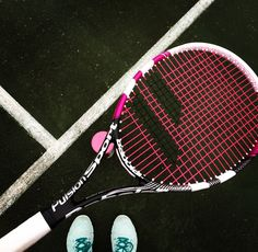 Love playing tennis today with my new pink Babolat racquet such a good raquet! #Tennis #Babolat #Pink