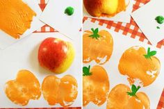 After bobbing for apples, turn your fruits into stamps that make pumpkin shapes easy as (apple) pie.... - Courtesy Frugal Mom Eh