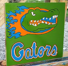 Florida Gators Wooden Sign Acrylic Painting by tuesdaydesigns, $25.00