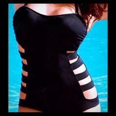 Sexy Black one piece monokini with cut out sides Sexy Black one piece monokini with cut out sides, spaghetti removable strap NWT Swimwear Refer to picture for measurements Do not buy ask me on comments for size to create a listing. Thanks Swim One Pieces