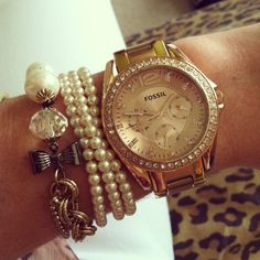 Rose gold Fossil watch. Pearls and diamonds. Super cute bracelet/watch stack #rosegold #birthstone