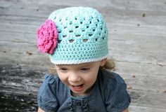 Open Weave Beanie Front View (2) by Daisy Cottage Designs, via Flickr