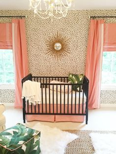 Black and Cream Dalmatian Print Wallpaper in this Coral and Gold Nursery - so chic!