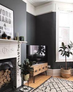 New Living Room Decor Grey Walls Interiors Ideas Living Room Grey, Small Living Rooms, Rugs In Living Room, Home And Living, Living Room Designs, Living Area, Modern Living, Tv Stand Living Room, Dark Grey Dining Room