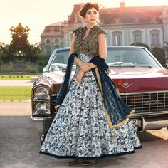 Buy White - Blue Bhagalpuri Silk Stitched Suit for womens online India, Best Prices, Reviews - Peachmode