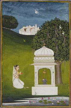 An illustration from a ragamala series: Bhairavi Ragini. Jaipur, early 18th century, With the city in the background, the maiden worships at the lingam shrine beside a lush lotus pond.