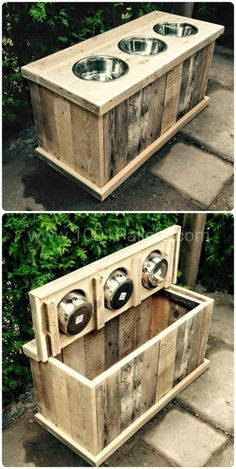 Dog feeder + Storage bin from recycled pallets