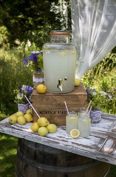 Rustic Weddings Wirral: Perfect for those country or rustic weddings: hessian table runners, log slices, jam jars wrapped in lace and filled with flowers. Lemonade Wedding, Lavender Lemonade, Kilner Drinks Dispenser, Fresco, Hessian Table Runner, Table Runners, Lemon Party, Kilner Jars, Birthday Drinks