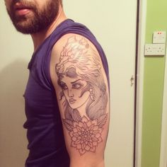 Traditional Wolf girl tattoo in progress