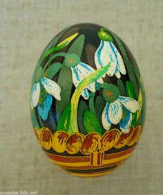 Pysanka Easter Flowers Egg by Ira. Snowdrops?