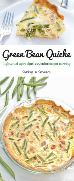 This easy quiche is made with just 8 ingredients! Plus, it's a relatively healthy quiche, made using milk rather than half and half or cream, and loaded with nutrient-rich green beans. Psst – this is a perfect way to use up leftover green beans from your holiday dinners! |quiche recipes | breakfast quiche | green bean recipes | holiday breakfast |#healthyrecipes #thanksgivingbreakfast #christmasbreakfast #breakfast #quiche #breakfastrecipes #food #greenbeans #holidaybreakast…