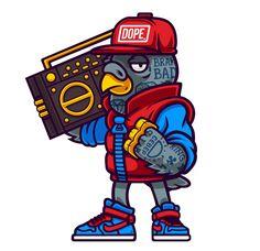 Dope Birds on Behance [boombox bird, vector character art '] Graffiti Cartoons, Graffiti Characters, Graffiti Art, Character Illustration, Illustration Art, Character Art, Character Design, Bold Logo, Hip Hop Art