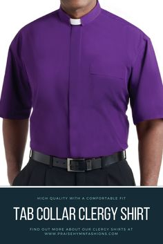 Purple Tab Collar Clergy Shirt - SM-112 This great looking long wearing clergy  shirt 7efdd6279