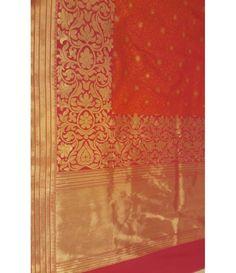 Orange Banarasi Handloom Pure Katan Silk Saree