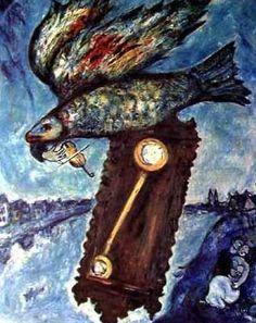 마르크 샤갈,<시간은 둑 없는 강이다>,1930~1939. 뉴욕, 현대미술관.   - 작품해설 : 날고 있는 물고기는 그리스도를 상징한다. 시계추는 십자가 처형의 이미지와 관련되어 인간의 운명을 상징하는 요소이다. 그림의 강은 시간이 자연 전체를 살아 움직이게 하는 생명의 원천임을 나타낸다. 오른쪽 아래의 연인은 생명을 주는 물의 힘을 상징한다고 한다.   - 나의 감상 : 눈에 보이지 않는 추상적 요소인 '시간'을 공통적 특성을 가지고 있으면서도 눈에 보이는 구체적 요소인 '강'과 결합시켜 표현한 점이 인상깊다. 제목자체도 아주 비유적인데, 작품역시 신비스러우면서도 아름다운 분위기를 풍겨서 제목과 작품이 아주 잘 어울린다. 제목을 작품으로 표현해 내는 능력 또는 작품을 한마디 제목으로 표현해내는 능력이 아주 돋보인다.