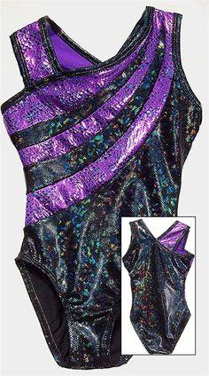 Amazing Abracadabra Purple Swirled Black Shattered Glass Asymmetrical Leotard