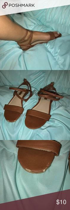 Forever 21 Strappy size 8 sandals Super cute strappy sandals from Forever 21! Size 8 and fit true to size. Slight scuffing on toe of shoe as shown in picture Forever 21 Shoes Sandals
