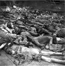Neuengamme, Germany, Corpses of inmates in the camp after liberation