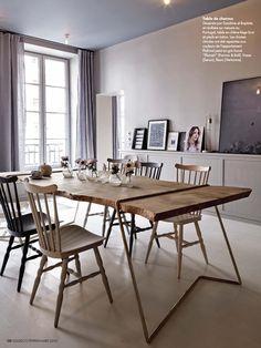 CHEZ MARIE SIXTINE - sandrine place & Baptiste Legué - appartement paris cabane interieure mobilier bois mobilier laiton table