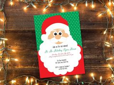 Printable Christmas Party invitation/ Holiday open house invitation/ Holiday party invitation/ Santa party invitation/ Kids Christmas party by glassslipperdesigns on Etsy