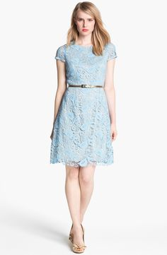 Free shipping and returns on Eliza J Belted Cotton Lace Dress at Nordstrom.com. A gleaming metallic belt shines against the pale lace overlay of a darling cap-sleeve dress with a slightly flared skirt and unfinished hemline.